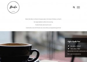 The front page and landing page of the website built for Baila Cafe & Bar