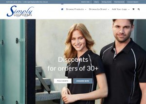 The landing page and home page of simply uniforms website australia bulk discount uniform supplier
