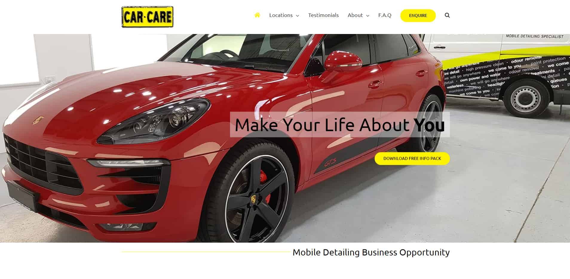 The front page of car care franchising website